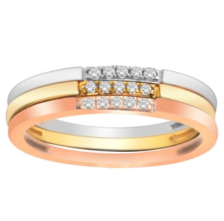 10k Gold 1/8ct TDW Diamond Stackable 3-piece Ring Set (H-I, I1)