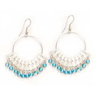 Silverplated Blue Maharani Dangle Earrings (India)