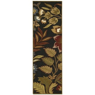 Hand-tufted 'In Bloom' Black Wool Runner Rug (2'3 x 7'6)