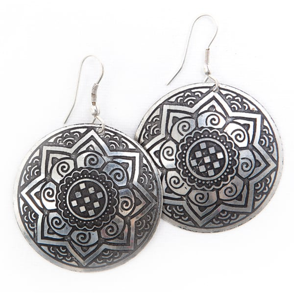 Brass Sun Medallion Earrings (India)