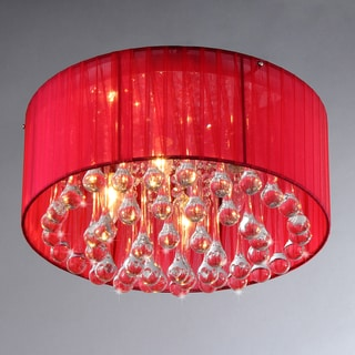 'Erinyes' Red Shaded Crystal and Chrome Ceiling Lamp