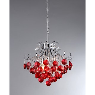 'Athena' Red Crystal and Chrome 3-light Chandelier