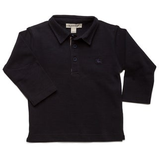 Burberry Boys' Marine Check Pique Long Sleeve Polo