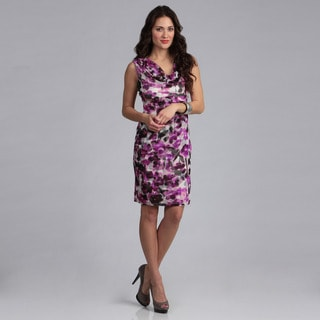 London Times Floral Mesh Sheath Dress