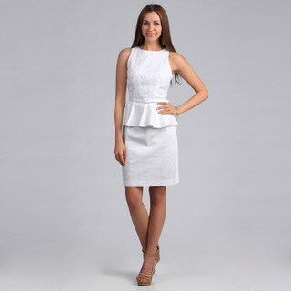 London Times Women's Cotton Peplum Sheath Dress