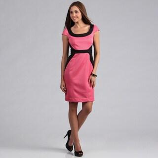 London Times Women's Pink Colorblocked Scuba Sheath Dress