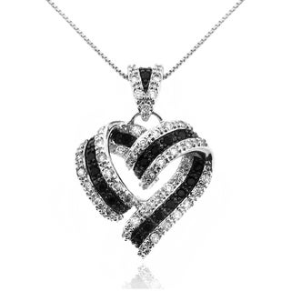 Moise Silver Black and White Cubic Zirconia Ribbon Heart Necklace