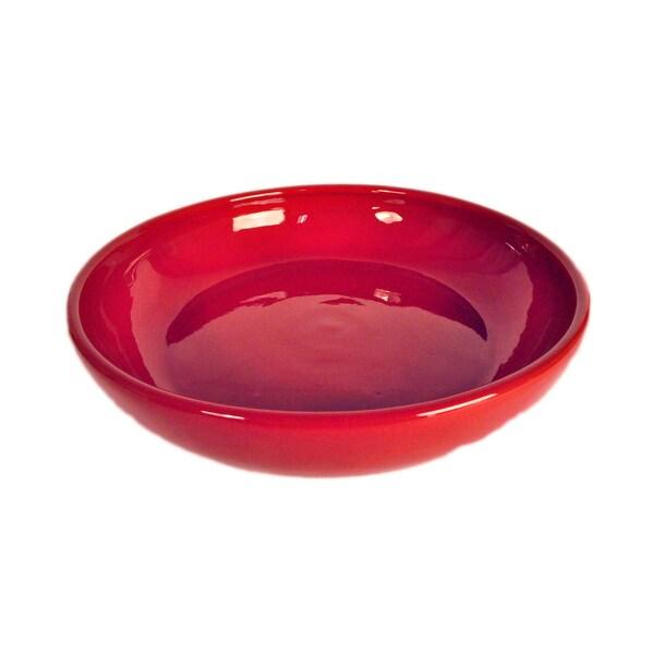 Terafeu Hand-made Red Glazed Ceramic Shallow Round Baker Dish