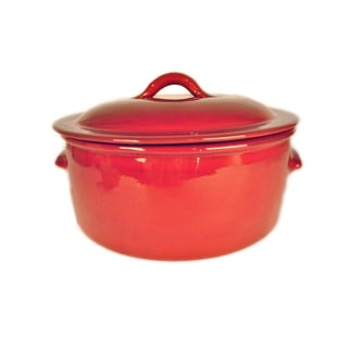Terafeu Hand-made 'Fait Tout' Red Glazed Ceramic Casserole Baker Dish