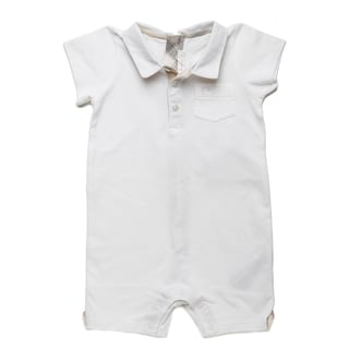 Burberry Boys' White Piqu Check Polo Shortall