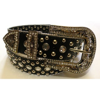 Women's Black Rhinestone Embellished Leather Belt