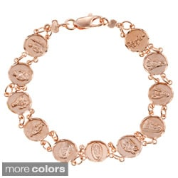 Sterling Essentials 14k Gold Overlay Saint Medal 7-inch Bracelet