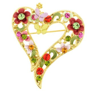 Goldtone Multi-colored Crystal Butterfly and Flower Heart Brooch