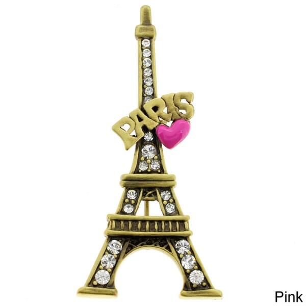 Goldtone Crystal 'Paris' Eiffel Tower and Heart Brooch