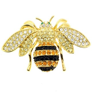 Goldtone Black, Orange and White Crystal Bee Brooch