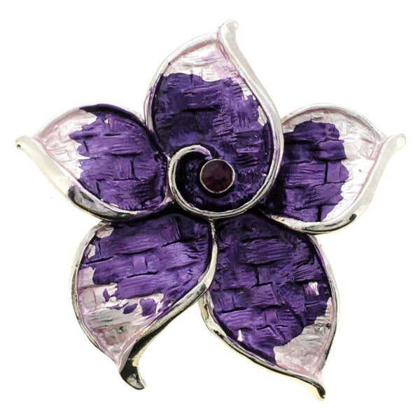 Silvertone Purple Crystal Flower Brooch