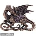 Coppertone Purple or Blue Crystal Flying Dragon Brooch