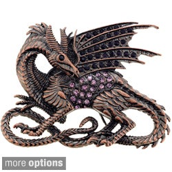 Coppertone Purple or Blue Crystal Flying Dragon Brooch