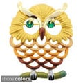 Color-plated Crystal Owl Brooch