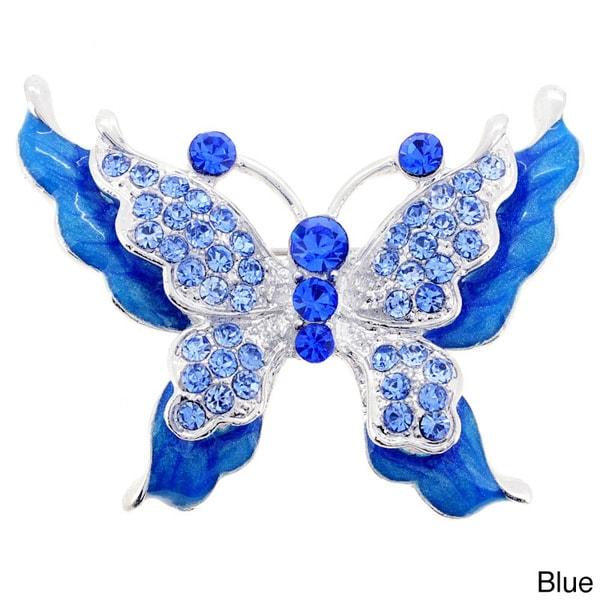 Silvertone Crystal Butterfly Brooch