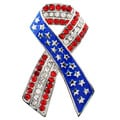 Silvertone Red and White Crystal American Flag Ribbon Brooch