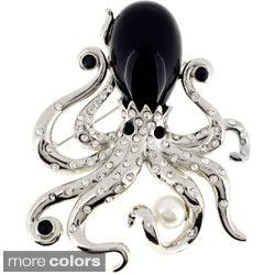 Black Pearl Octopus Pin Brooch