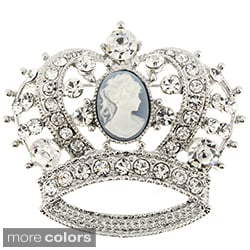 Crystal Cameo Crown Pin Brooch
