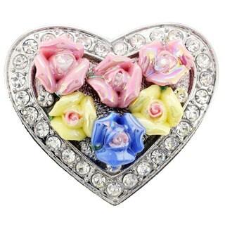 Multicolor Rose Heart Valentine Pin Brooch