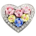 Multicolor Rose Heart Valentine Pin Brooch