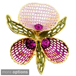 Goldtone Crystal Orchid Flower Brooch