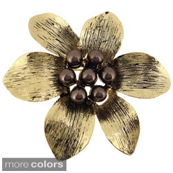 Goldtone or Black-plated Faux Pearl Flower Brooch