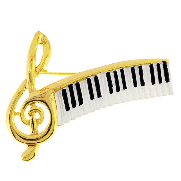 Golden Musical Note And Piano Pin Brooch