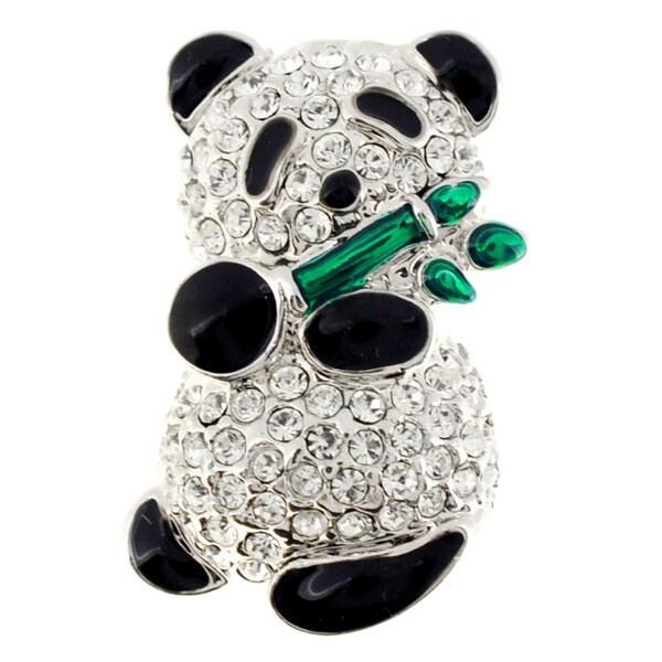 Panda With Bamboo Crystal Pin Brooch
