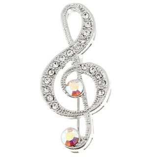 Silver Music Note Crystal Pin Brooch
