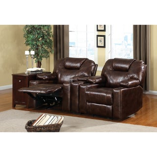 Furniture of America Contemporary Poise Dark Brown Home Theatre Duo Recliner