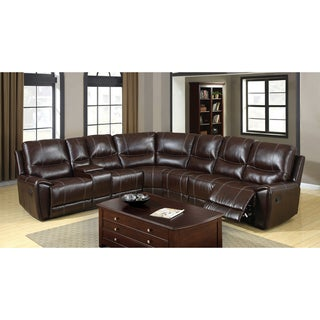 Furniture of America Dotti All-in-One Contemporary Brown Bonded Leather Sectional Set