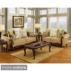Furniture of America Senous 2-piece Caramel Espresso Sofa Set