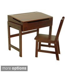 Child's Slanted Top Solid Wood Desk and Chair