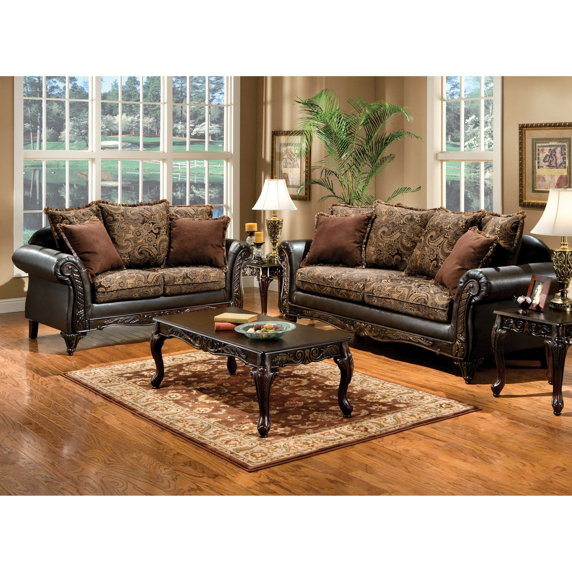 Furniture of america ruthy traditional dark brown floral for Dark brown living room set