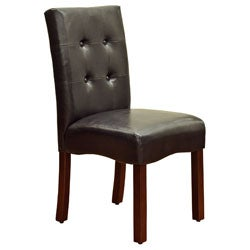 Espresso Button-tufted Parson Chairs (Set of 2)