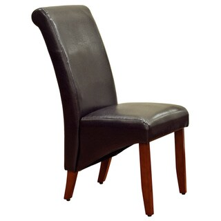 Espresso Faux Leather Parson Chairs (Set of 2)