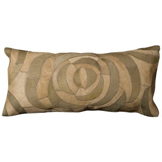 Mina Victory Natural Leather Hide Sage 14 x 30-inch Pillow by Nourison