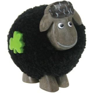 Fluffy Sheep Standing Black-