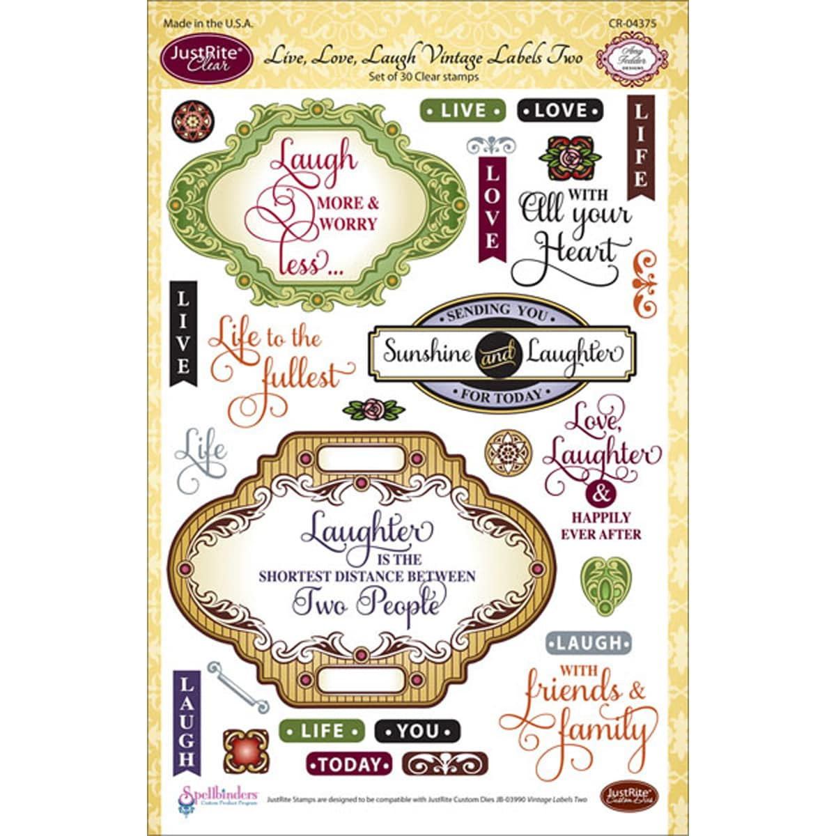 Just Rite JustRite Stampers 6X8in Clear Stamp Set-Live, Love, Laugh, Vint Labels Two 30pc at Sears.com