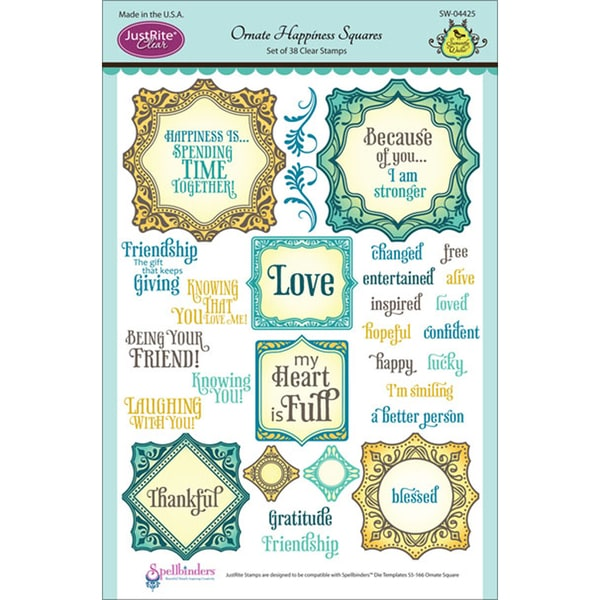JustRite Stampers 6x8in Clear Stamp Set-Ornate Happiness Squares 38pc