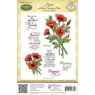 JustRite Stampers Cling Stamp Set-Poppies Labels Twenty Nine 8pc