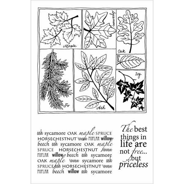 """Woodware Clear Stamps 4""""X6"""" Sheet-Leaf Selection"""