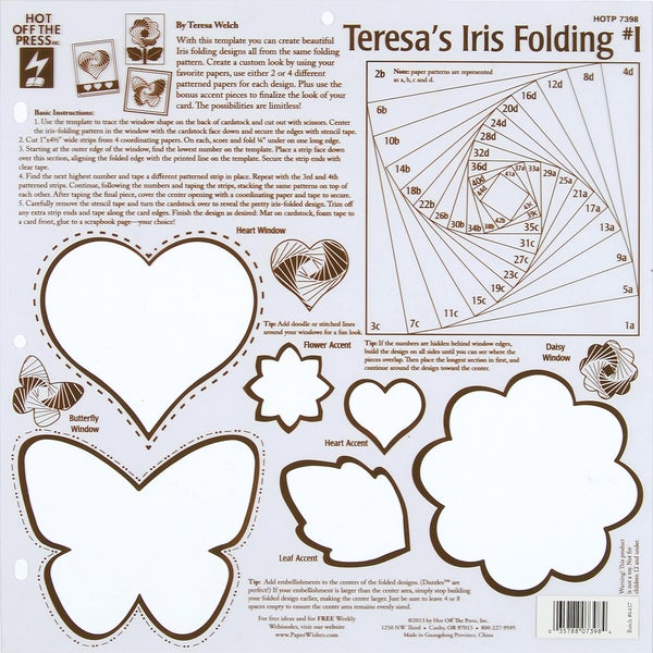 Hot Off The Press Stencil Template-Teresa's Iris Folding #1