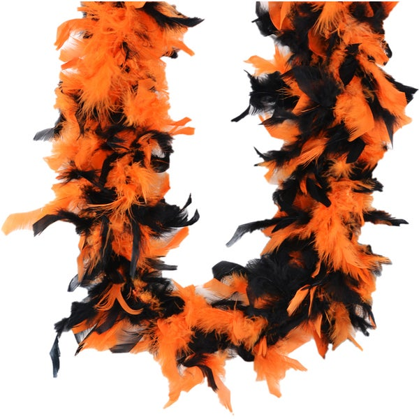 Chandelle Feather Boa 72in-Black/Orange Mix