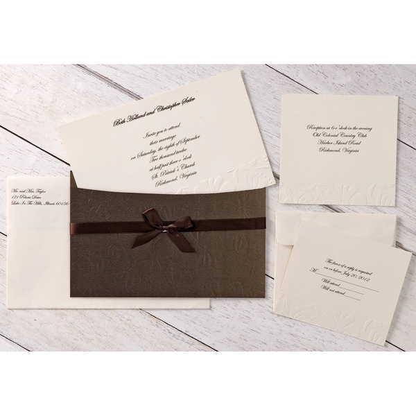 Embossed Flower Pocket Invitation Kit
